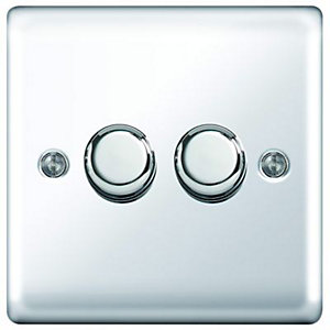 Wickes Dimmer Switch 2 Gang 2 Way 400W Polished Chrome Raised Plate