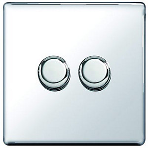 Wickes Dimmer Switch 2 Gang 2 Way 400W Polished Chrome Screwless Flat Plate