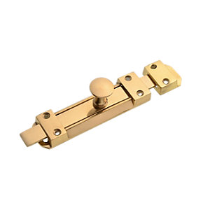 Wickes Flat Tower Bolt - Brass 140mm