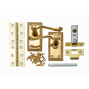 Wickes Cheshire Georgian Scroll Latch Door Handle Set - Polished Brass 1 Pair