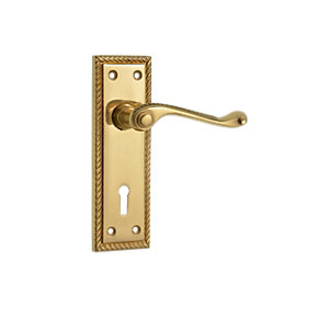 Wickes Cheshire Georgian Scroll Locking Door Handle - Polished Brass 1 Pair