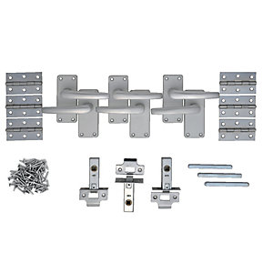 Wickes Contract Straight Latch Door Handle Set - Satin Aluminium 3 Pairs