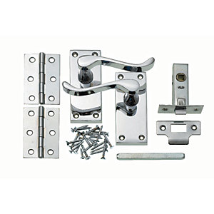 Wickes Monaco Victorian Scroll Latch Door Handle Set - Chrome 1 Pair