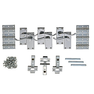 Wickes Monaco Victorian Scroll Latch Door Handle Set - Chrome 3 Pairs
