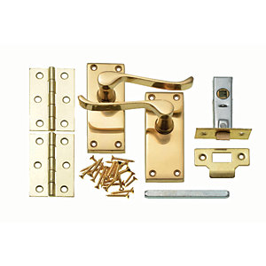 Wickes Paris Victorian Scroll Latch Door Handle Set - Polished Brass 1 Pair