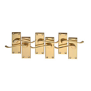 Wickes Paris Victorian Scroll Latch Door Handle Set - Polished Brass 3 Pairs