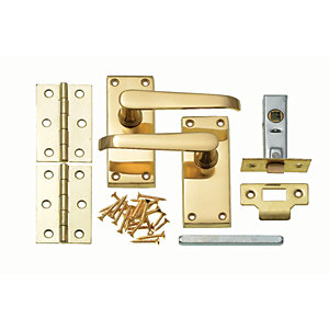 Wickes Rome Victorian Straight Latch Door Handle Set - Polished Brass 1 Pair