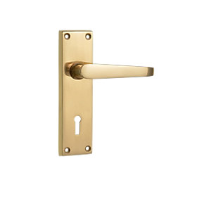 Wickes Rome Victorian Straight Locking Door Handle - Polished Brass 1 Pair