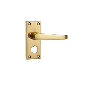Wickes Rome Victorian Straight Privacy Door Handle - Polished Brass 1 Pair