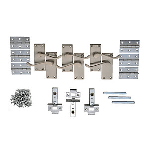 Wickes York Victorian Scroll Latch Door Handle Set - Satin Nickel 3 Pairs