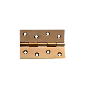 Wickes Butt Hinge - Polished Brass 100mm Pack of 2