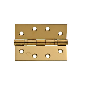 Wickes Grade 11 Ball Bearing Hinge - Polished Brass 102mm Pack of 2