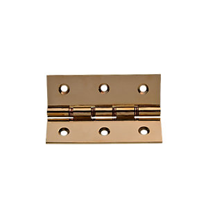 Wickes Phospor Bronze Washered Butt Hinge - Polished Brass 76mm Pack of 2