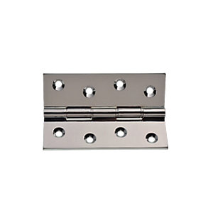 Wickes Phospor Bronze Washered Butt Hinge - Polished Chrome 100mm Pack of 2