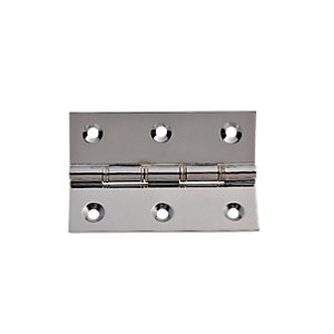 Wickes Phospor Bronze Washered Butt Hinge - Polished Chrome 76mm Pack of 2