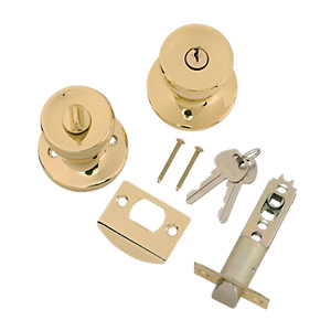 Wickes Entrance Door Knob Set - Brass
