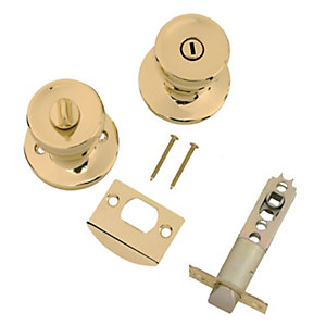 Wickes Privacy Door Knob Set - Brass 1 Pair