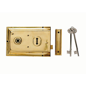 Yale P-334-BPB Rim Door Lock - Brass