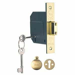 Yale P-M562-PB-67 5 Lever British Standard Deadlock - Brass 64mm