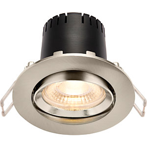 Saxby Integrated LED Adjustable Warm White Dimmable Downlight 4W - Brushed Nickel