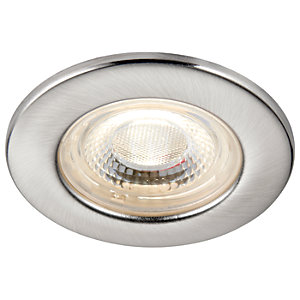Saxby Integrated LED Fire Rated IP65 Cool White Dimmable Downlight 4W - Brushed Nickel