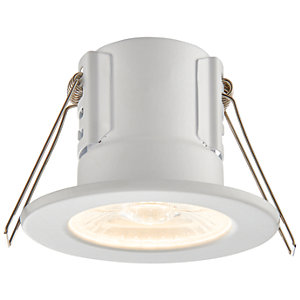 Saxby Integrated LED Fire Rated IP65 Warm White Dimmable Downlight 4W - Matt White