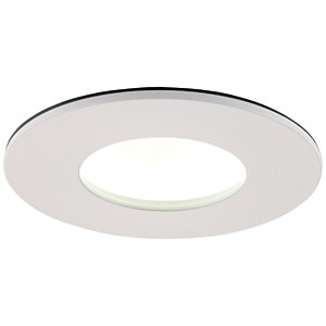 Saxby Orbital Plus LED Anti Glare Fire Rated IP65 Cool White Dimmable Downlight 9W - Matt White