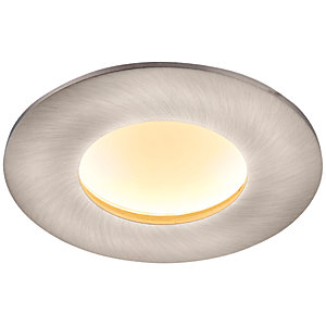 Saxby Orbital Plus LED Anti Glare Fire Rated IP65 Warm White Dimmable Downlight 9W - Brushed Nickel