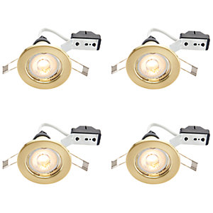 Wickes Brass LED Downlight - 4.8W - Pack of 4