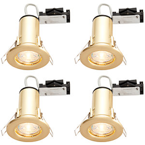 Wickes Brass LED Fire Rated Downlight - 4W - Pack of 4