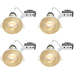 Wickes Brass LED IP65 Downlight - 4W - Pack of 4