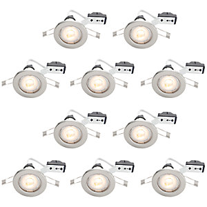 Wickes Brushed Chrome LED Downlight - 4.8W - Pack of 10