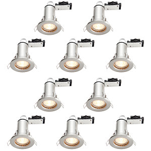 Wickes Brushed Chrome LED Fire Rated Downlight - 4W - Pack of 10