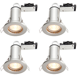 Wickes Brushed Chrome LED Fire Rated Downlight - 4W - Pack of 4