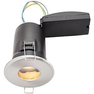 Wickes Brushed Chrome LED Fire Rated IP65 Bathroom Downlight - 6W