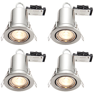 Wickes Brushed Chrome LED Fire Rated Tilt Downlight - 4W - 4 Pack