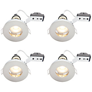Wickes Brushed Chrome LED IP65 Downlight - 4W - Pack of 4