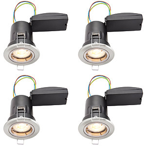 Wickes Brushed Chrome LED Premium Fire Rated Downlight - 6W - Pack of 4