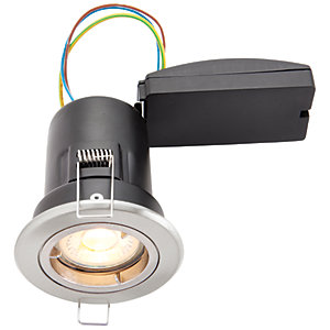 Wickes Brushed Chrome LED Premium Fire Rated Downlight - 6W