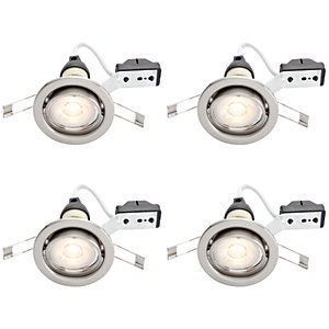 Wickes Brushed Chrome LED Tilt Downlights 4.8W - Pack of 4