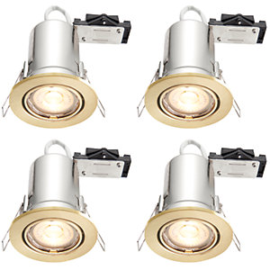 Wickes Brushed Gold LED Fire Rated Tilt Downlight - 4W - Pack of 4