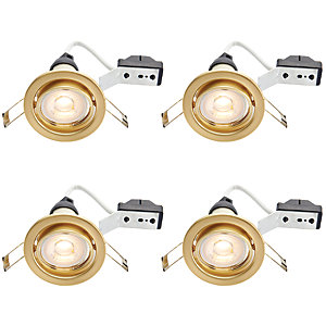 Wickes Brushed Gold LED Tilt Downlight 4.8W - Pack of 4