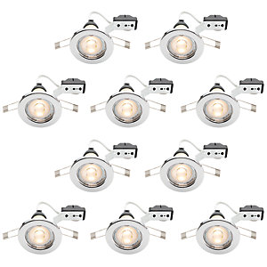 Wickes Chrome Finish LED Downlight - 4.8W - Pack of 10
