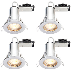 Wickes Chrome LED Fire Rated Downlight - 4W - Pack of 4