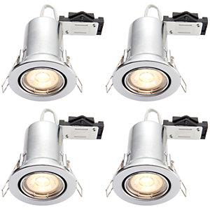 Wickes Chrome LED Fire Rated Tilt Downlight - 4W - Pack of 4