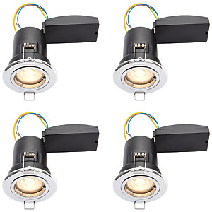Wickes Chrome LED Premium Fire Rated Downlight - 6W - Pack of 4