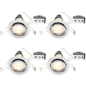 Wickes Chrome LED Tilt Downlight - 4.8W - Pack of 4