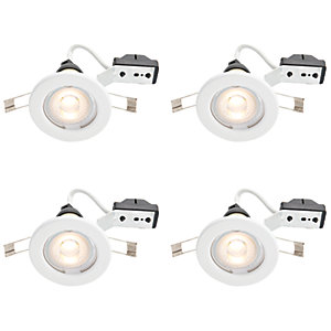 Wickes White LED Downlight - 4.8W - Pack of 4