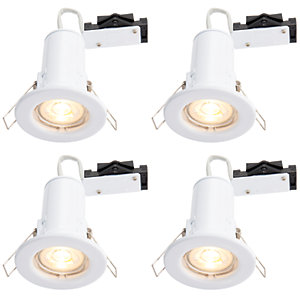 Wickes White LED Fire Rated Downlight - 4W - Pack of 4