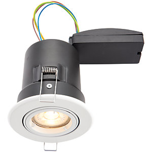 Wickes White LED Premium Fire Rated Tilt Downlight - 6W